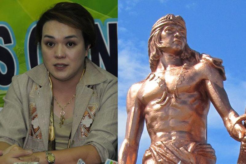 CEBU. Mandaue City Treasurer Regal Oliva (left) and statue of Lapu-Lapu in Mactan Island, Cebu. (SunStar File/Wikimedia Commons)
