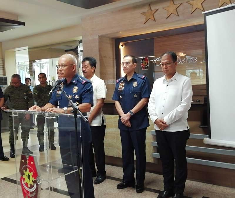 MANILA. Philippine National Police Chief Oscar Albayalde and other top PNP officials hold a press conference on August 27, 2019. (Photo by Third Anne Peralta-Malonzo)