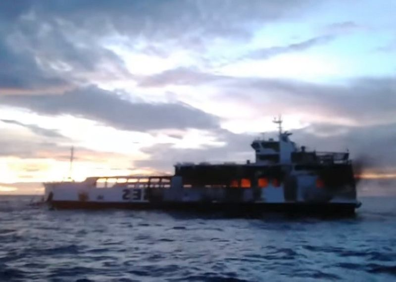 CEBU. Three persons were confirmed dead after passenger vessel M/V Lite Ferry 16 caught fire in the seawaters off Dapitan City hours after it left Samboan town, Cebu. (Screenshot from Fred Castro's Facebook Live video)