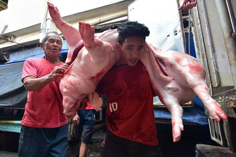 DAVAO. A man carries a butchered pig at Bankerohan Public Market. (Macky Lim)