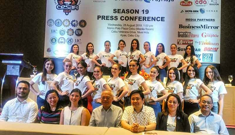 ANOTHER SEASON. Cebu Schools Athletic Foundation Inc. president Bernard Villamor (third from right) joins commissioner Felix Tiukinhoy (fourth from right) and the candidates for the Miss Cesafi high school and college divisions during the launch of the new season. (SunStar Photo/Amper Campaña)