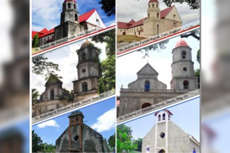 BEFORE AND AFTER. The three churches in Lazi (Siquijor), Dauin and Zamboanguita in Negros Oriental that have been restored and are ready for turnover today and on Thursday. These are funded by the National Historical Commission of the Philippines with a total estimated amount of PHP67 million. (Photo courtesy of Msgr. Julius Heruela/Commission on Church Cultural Heritage via PNA)