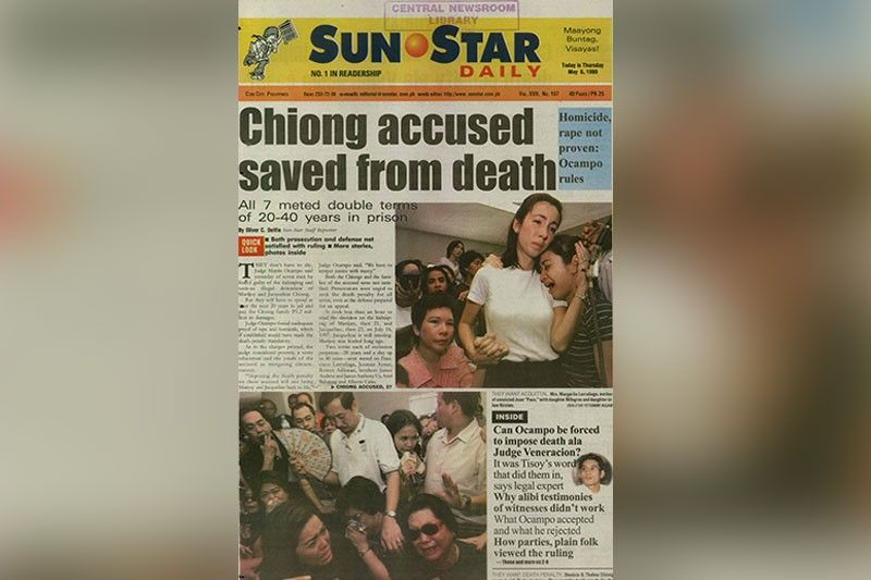 FREEDOM? The May 6, 1999 issue of  SunStar Cebu bannered the conviction of the seven suspects in the kidnapping and serious illegal detention of Marijoy and Jacqueline Chiong. It was a high-profile case, involving sons of prominent families in Cebu. This week, talks are rife that three of them are about to be released from jail. Not true, government officers say.