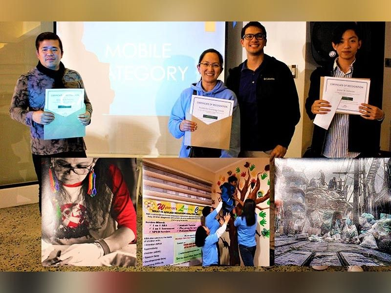 """BAGUIO. From L to R. Winners Mobile Category 3rd place Joriel Solenon """"Think Globally Act Locally""""; 1st place Wyldricks Learning Center/Angeliza Arciga """"Push mo yan Teach""""; and 2nd place Alejandro Verzosa """"Rainbow of Hope"""". (Photo by Osharé)"""