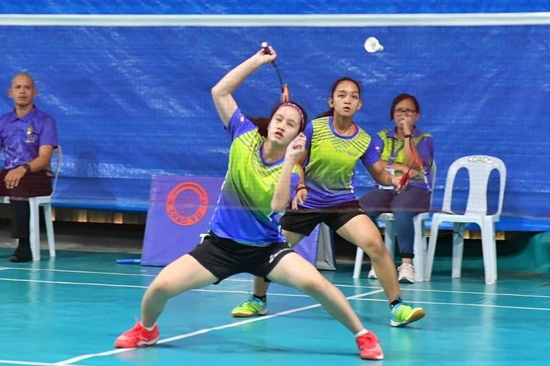 PALAWAN. Maris Franceska Almazan and Khea Montanez of Davao City compete against a pair from Malolos, Bulacan in the girls badminton 15-under doubles finals at ESJ Badminton court in Puerto Princesa City, Palawan Saturday, August 31, 2019. (Skippy Lumawag/SDD-CMO)