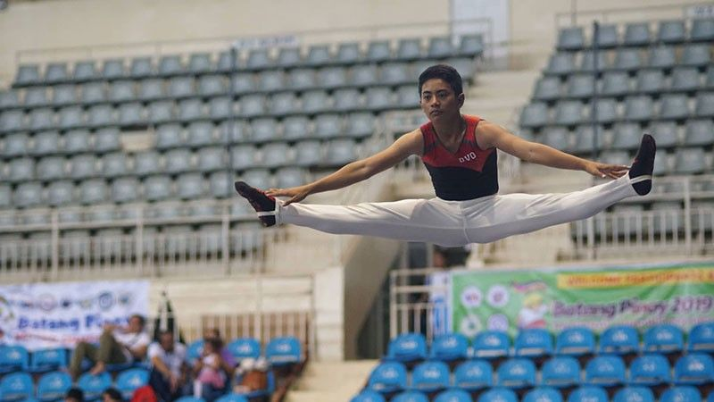 PALAWAN. Daryl Serato of Davao City soars to collect three gold medals and one silver at the close of the Batang Pinoy 2019 National Championships gymnastics competition Friday at the City Coliseum in Puerto Princesa City, Palawan. (Hernando Hermie Jereos/SDD-CMO)