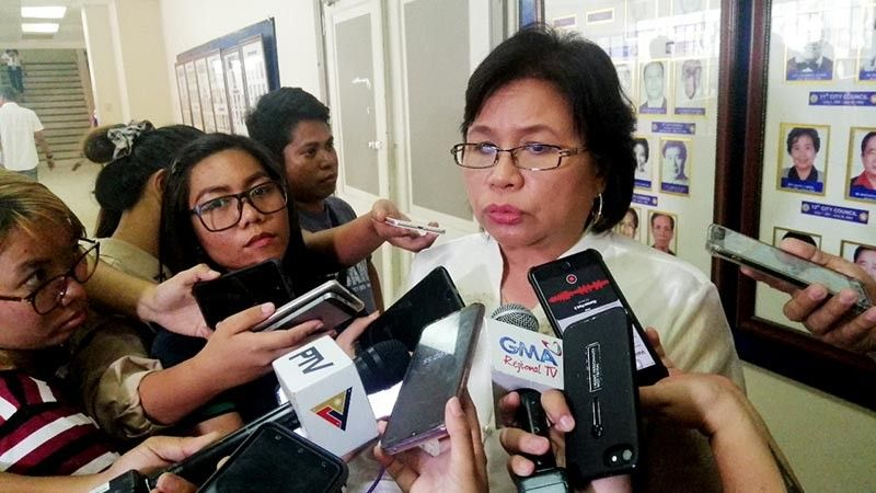 DAVAO. Councilor Mary Joselle Villafuerte in an ambush media interview. (Ralph Lawrence G. Llemit)