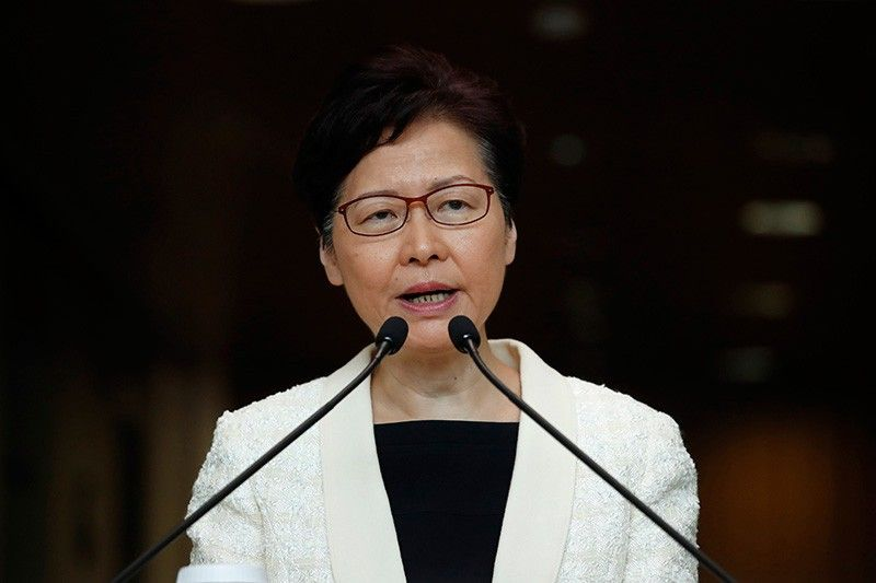 HONG KONG. In this September 3, 2019, file photo, Hong Kong Chief Executive Carrie Lam speaks during a press conference in Hong Kong. Hong Kong's government has a meeting scheduled on Wednesday, September 4 amid speculation leader Carrie Lam may formally withdraw an extradition bill as protesters have demanded. (AP)