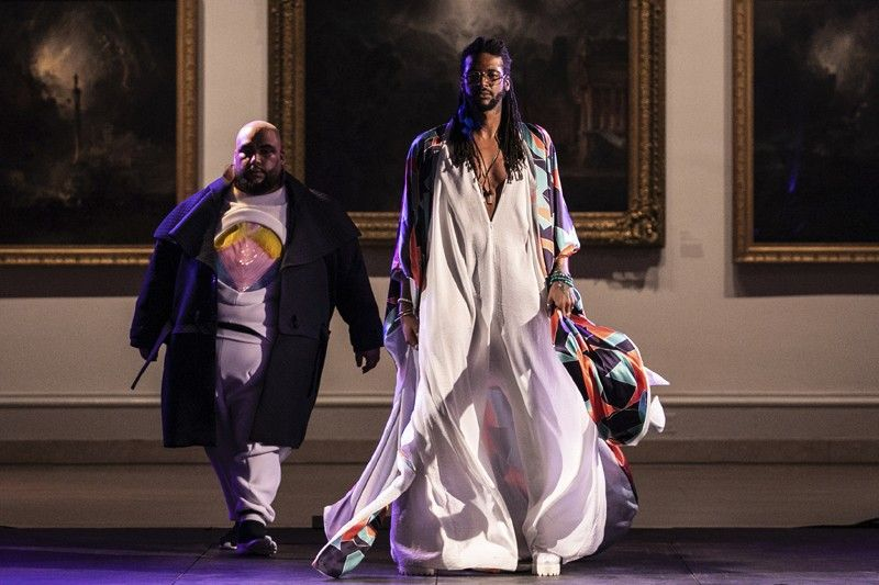 NEW YORK. The Travis Oestreich collection is modeled during the dapperQ fashion show at the Brooklyn Museum on Thursday, September 5, 2019, in New York. (AP)