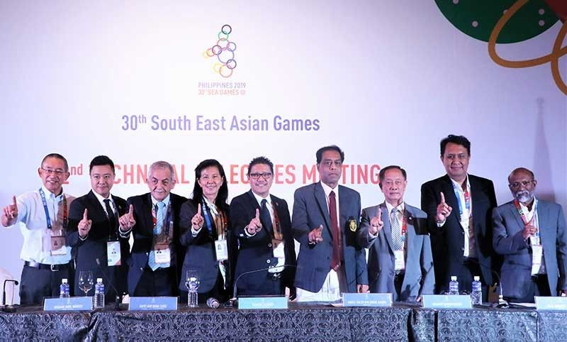 CLARK FREEPORT. South East Asian Games Technical Delegates (from left) Katsumi Kuroda (Water Polo), Sebastian Lau (Esports), Ibrahim Fadil Naddeh (Swimming), Dato Low Beng Choo (President of Asian Federation - Softball & CDM of Team Malaysia, Ramon Suzara (PHISGOC COO), Abdul Halim Bin Abdul Kader (Sepak Takraw), Shanrit Wongprasert (Volleyball), Agus Antares Mauro (Basketball) and Valson Cuddikotta (Athletics) grace the press conference of the 2nd Technical Delegates Meeting held at the Polkabal Hall of the  Manila Hotel on September 4, 2019. - Contributed photo