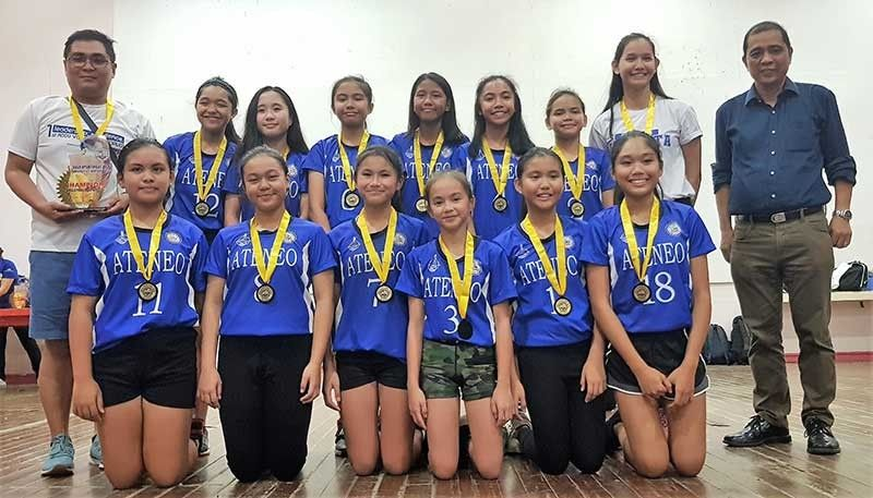 DAVAO. The Ateneo de Davao University (Addu) elementary girls volleyball team celebrates winning the Dacs Sportsfest 2019 gold medal at University of the Immaculate Conception (UIC) along J.P. Laurel Avenue, Davao City recently. (Photo by D'Artagnan Yambao)