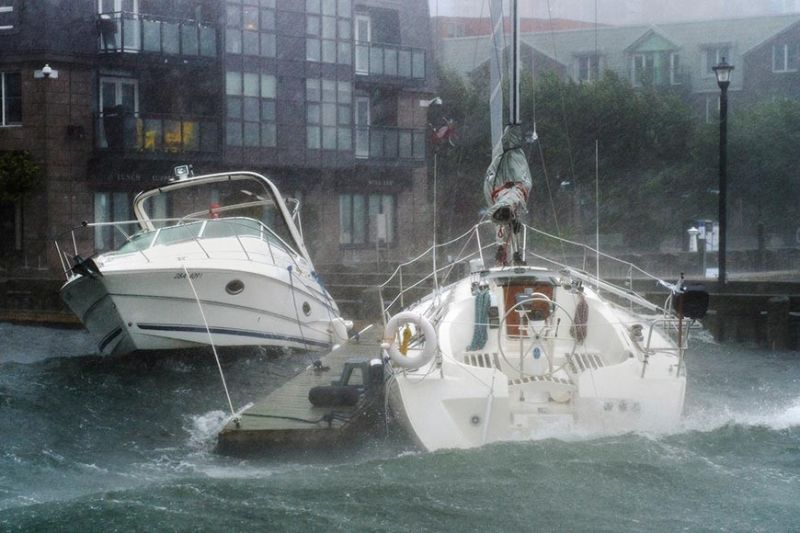 CANADA. Waves crash into boats long the waterfront in Halifax, Nova Scotia as hurricane Dorian approaches on Saturday, September 7, 2019. Weather forecasters say Hurricane Dorian is picking up strength as it approaches Canada. (AP)