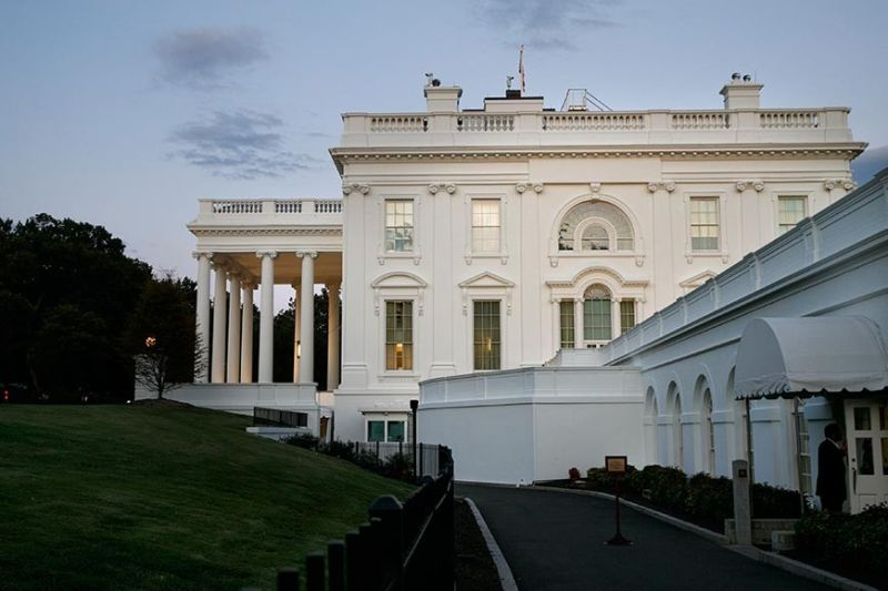 WASHINGTON. A man enters the press area of the White House at dusk, Saturday, September 7, 2019, in Washington. On Saturday, September 7, 2019, President Donald Trump tweeted he has called off a secret Camp David meeting with Taliban and Afghanistan leaders. (AP)