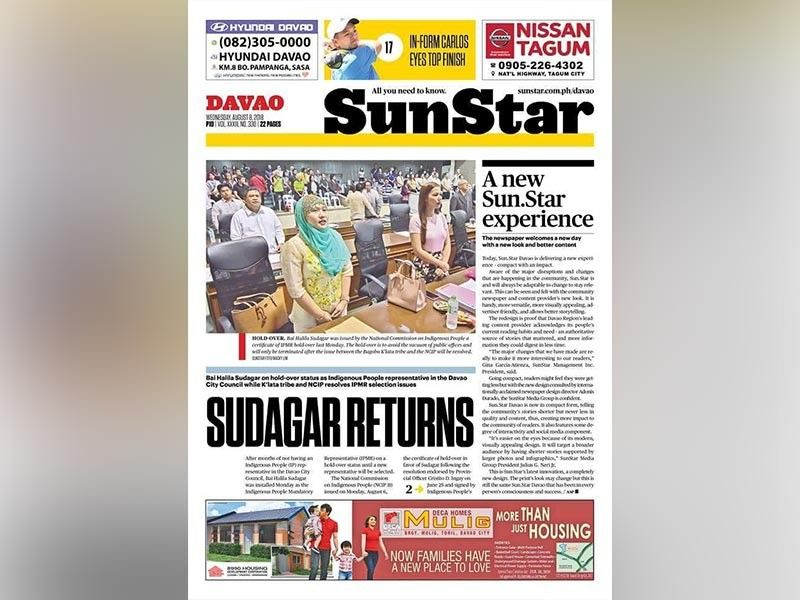 DAVAO. SunStar rolled out the new layout on August 8, 2018 that mimics the beauty of a magazine layout.