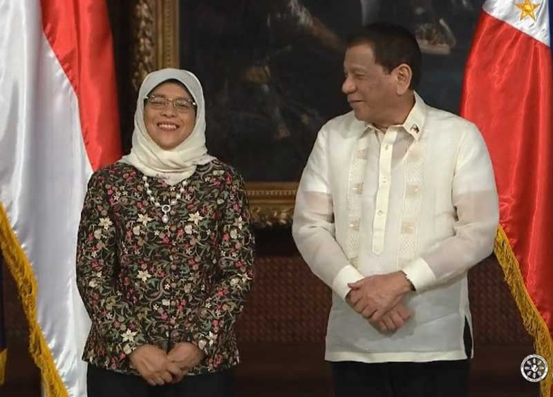 MANILA, Singapore President Halimah Yacob and President Rodrigo Duterte share a light moment while during the former's state visit on September 9, 2019. (Photo grabbed from presidential video)