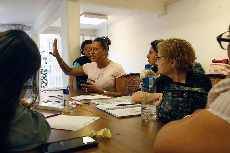 MEXICO CITY. In this August 17, 2019 photo, trans rights activist Kenya Cuevas speaks to former female inmates about reintegration into the job market during a workshop organized by the Women for Justice, in Mexico City. Cuevas is one of the most visible trans activists in Mexico among a growing chorus of women seeking change from the government. (AP)