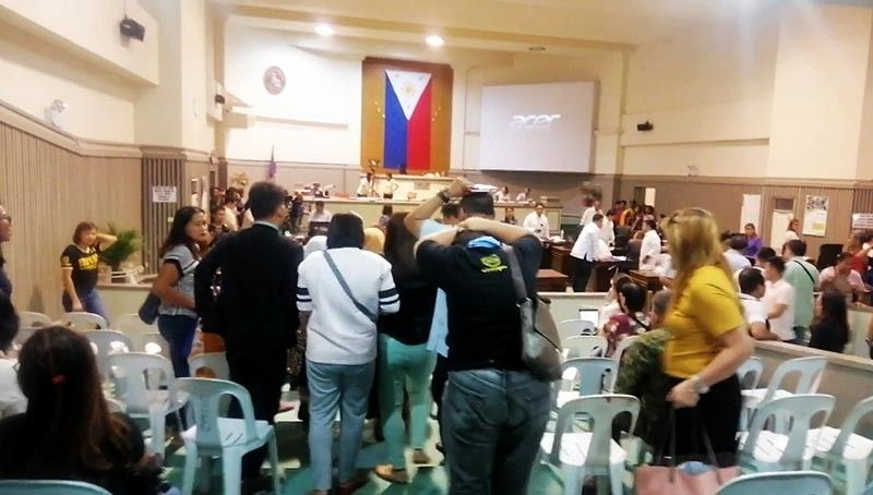 DAVAO. Councilors and some guests inside the City Council session hall evacuated when a 5.3 earthquake hit Davao City, Tuesday afternoon. (Photo by Ralph Lawrence G. Llemit)