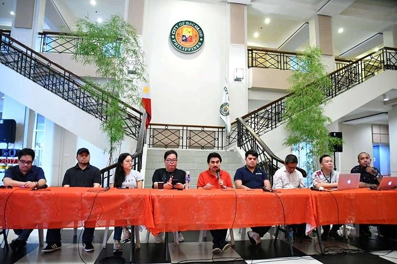 From left: multi-media artist RJ Lacson, digital artist Mark Lester Jarmin, film-maker Claudia Cojuangco, festival director Eli Francis Tajanlangit, Mayor Evelio Leonardia, Councilor Israel Salanga, streetdance chair Rudy Reveche, MassKara Queen pageant director Sonny Cabahug, and Electric MassKara director Ryan Saez hold a press conference for the launching of the 40th MassKara Festival. (Contributed photo)