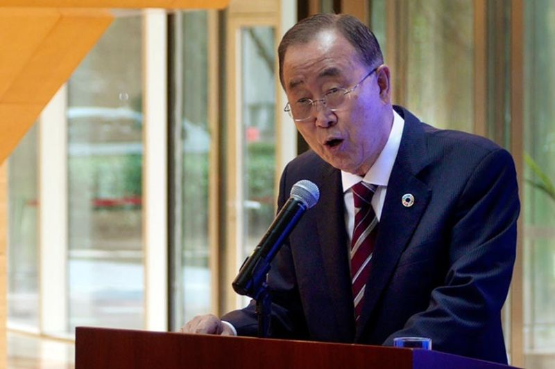 BEIJING, CHINA. Former U.N. Secretary-General Ban Ki-moon speaks during a press conference for the release of a report on adapting to climate change in Beijing, Tuesday, September 10, 2019. A group of leaders from business, politics and science called Monday for a massive investment in adapting to climate change over the next decade, arguing it would reap significant returns as countries avoid catastrophic losses and boost their economies. (AP)