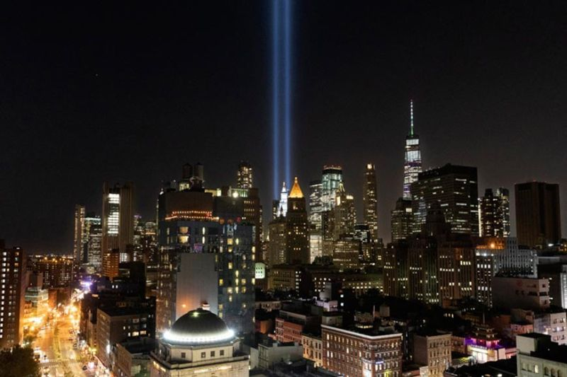 MANHATTAN. The Tribute in Light rises above the lower Manhattan skyline, Tuesday, September 10, 2019 in New York. Wednesday marks the 18th anniversary of the terror attacks against the United States of September 11, 2001. (AP)