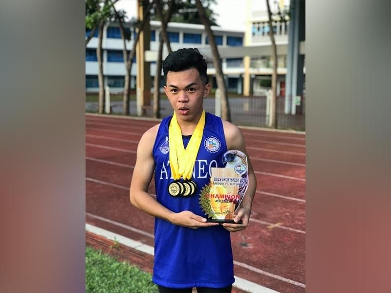 DAVAO. Louis Guino collects four gold medals at the close of the Dacs Sportsfest 2019 athletics competition held recently at the Fr. Martinez Sports Center Track Oval, Ateneo de Davao University (Addu), Matina, Davao City. (Addu photo)
