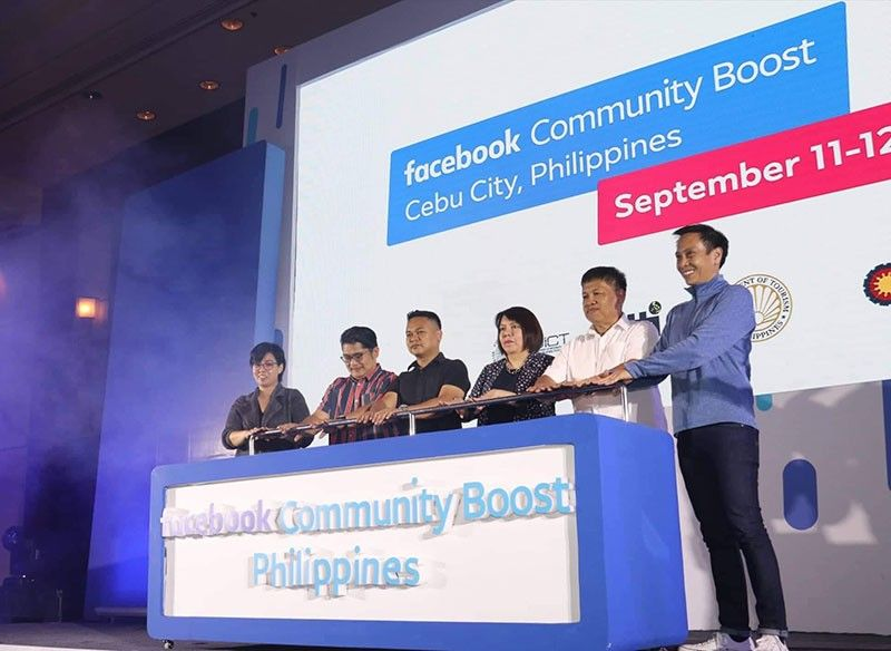 LAUNCHING. John Rubio (extreme right), Facebook Philippines country director, launches the Facebook Community Boost Philippines at the Radisson Blu Hotel on Sept. 11, 2019, together with (right to left after Rubio) Orlando Orbia, Department of Information and Communications Technology Visayas administration and finance chief, Maria Elena Arbon, Department of Trade and Industry assistant regional chief, Ulyson Petilla, Department of Tourism 7 tourism operations assistant, Philip Felipe, Bayan Academy executive director and Claire Amador, Facebook Philippines public policy head. (SunStar Photo/Amper Campaña)