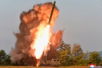 NORTH KOREA. This Tuesday, September 10, 2019, photo provided by the North Korean government shows a test-firing from a multiple rocket launcher at an undisclosed location in North Korea. KCNA reports North Korean leader Kim Jong Un visited the site. The content of this image is as provided and cannot be independently verified. Korean language watermark on image as provided by source reads:
