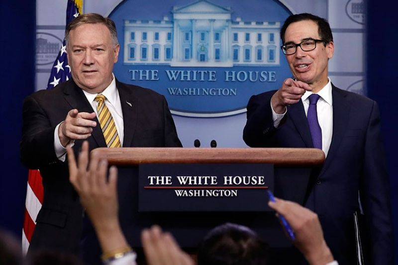 USA. Secretary of State Mike Pompeo and Treasury Secretary Steve Mnuchin take questions during a briefing on terrorism financing at the White House, Tuesday, September 10, 2019, in Washington. (AP)