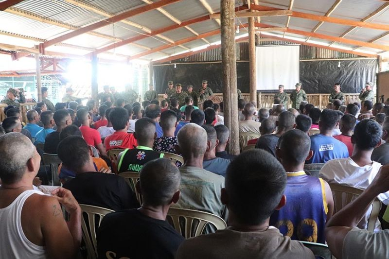 ILOILO. A total of 310 former rebels gather in Camp Peralta in Jamindan, Capiz on September 8, 2019, to start the decommissioning process. (Photo courtesy of 3rd ID)