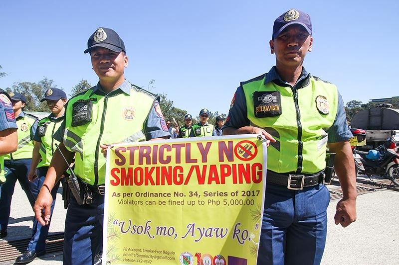 BAGUIO. Authorities continue to remind the public to adhere to the ordinance banning the use of cigarettes and vape in public places anchored on the World Health Organization Framework Convention on Tobacco Control. (Jean Nicole Cortes)
