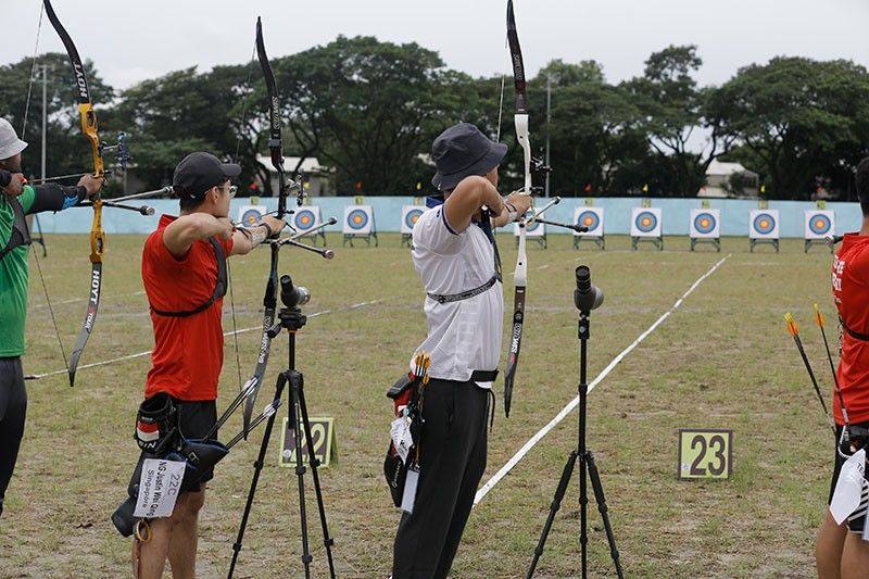"CLARK FREEPORT. Members of the World Archery Association (WAA) that represent 12 countries across the globe compete at the 2019 Asia Cup Stage 3 World Ranking Event held at the Clark Parade Grounds. The competition also serves as a ""test event"" for archers who will represent their respective countries for the Southeast Asian Games 2019. (Photo by CDC CommDep)"