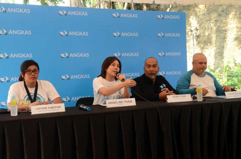 PRESSCON: Angeline Tham, Angkas CEO founder and chief executive officer (2nd from left), talks about safety measures they've put in place. With her are Gilber Olan, Chief Transport Advocate (2nd from right); Jobert Bolonos, chairman of the Motorcycle Rights Organization; and Lachme Reboton, Angkas assistant manager for operations. (SUNSTAR FOTO / ALAN TANGCAWAN)