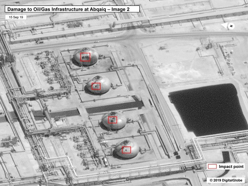 SAUDI ARABIA. This image provided on Sunday, September 15, 2019, by the U.S. government and DigitalGlobe and annotated by the source, shows damage to the infrastructure at Saudi Aramco's Abaqaiq oil processing facility in Buqyaq, Saudi Arabia. The drone attack Saturday on Saudi Arabia's Abqaiq plant and its Khurais oil field led to the interruption of an estimated 5.7 million barrels of the kingdom's crude oil production per day, equivalent to more than 5 percent of the world's daily supply. (AP)