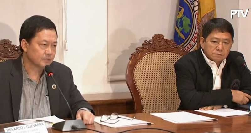 MANILA. Justice Secretary Menardo I. Guevarra and Local Government Eduardo M. Año hold a press conference on the revised implementing rules and regulations of Republic Act 10592 on September 16, 2019. (Photo grabbed from PTV video)