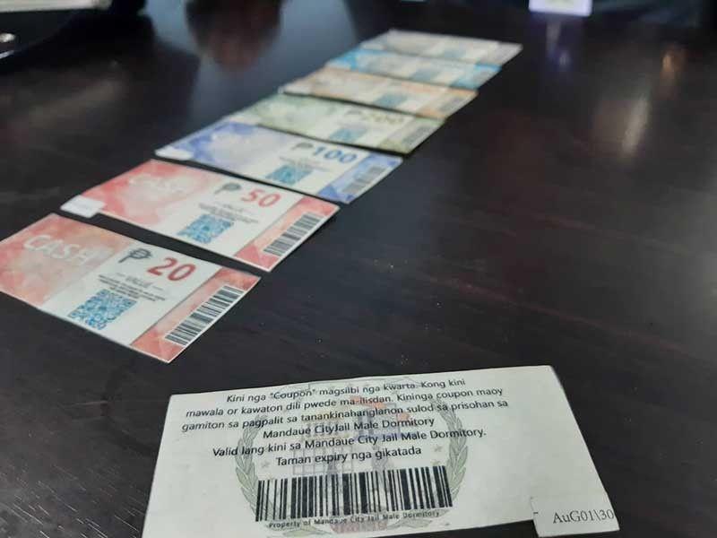 COUPON: Mao kini ang mga coupon nga gamiton isip kwarta sulod sa Mandaue City Jail. (Arvie N. Veloso)
