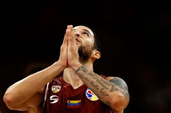 CHINA. Heissler Guillent of Venezuela reacts during the final moments of their victory over China in their group phase game in the FIBA Basketball World Cup at the Cadillac Arena in Beijing, Wednesday, September 4, 2019. (AP)