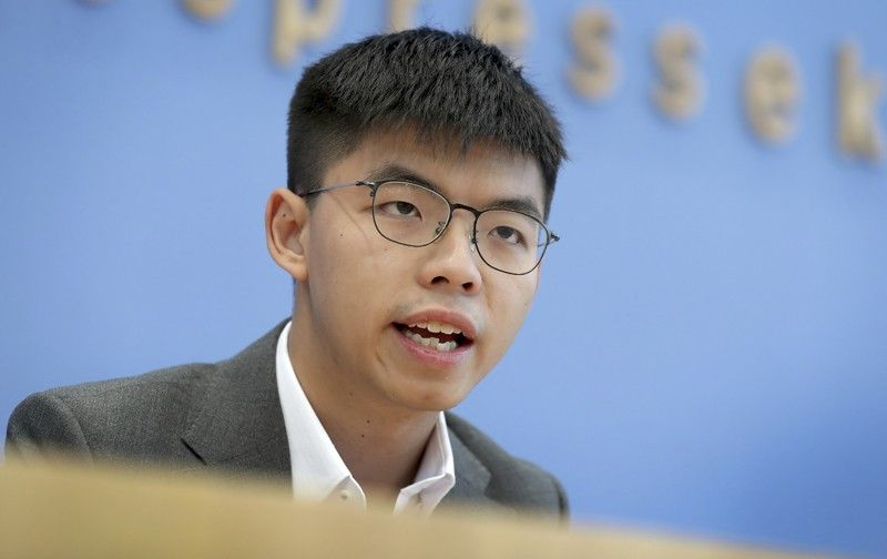 GERMANY. In this September 11, 2019, file photo, Hong Kong activist Joshua Wong addresses the media during a press conference in Berlin, Germany. Overseas, Joshua Wong has emerged as a prominent face of Hong Kong's months-long protests for full democracy. At home, he is just another protester. (AP)