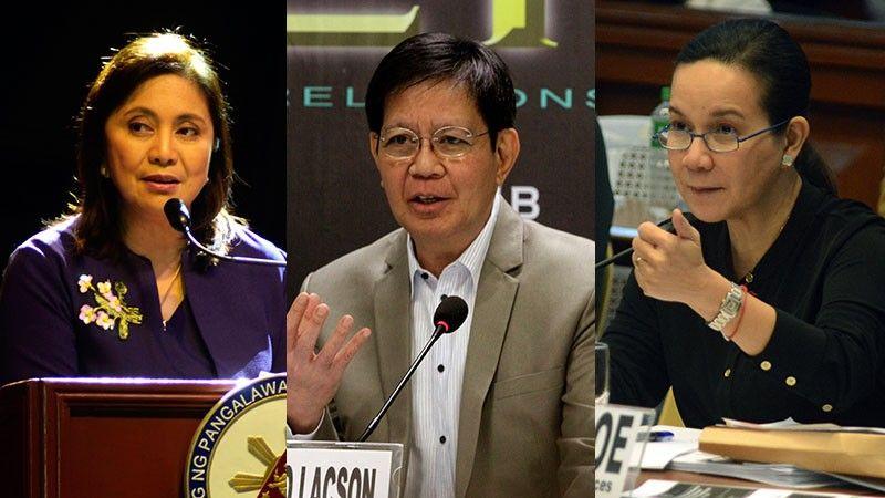 MANILA. Vice President Leni Robredo, Senator Panfilo Lacson, and Senator Grace Poe. (SunStar File)