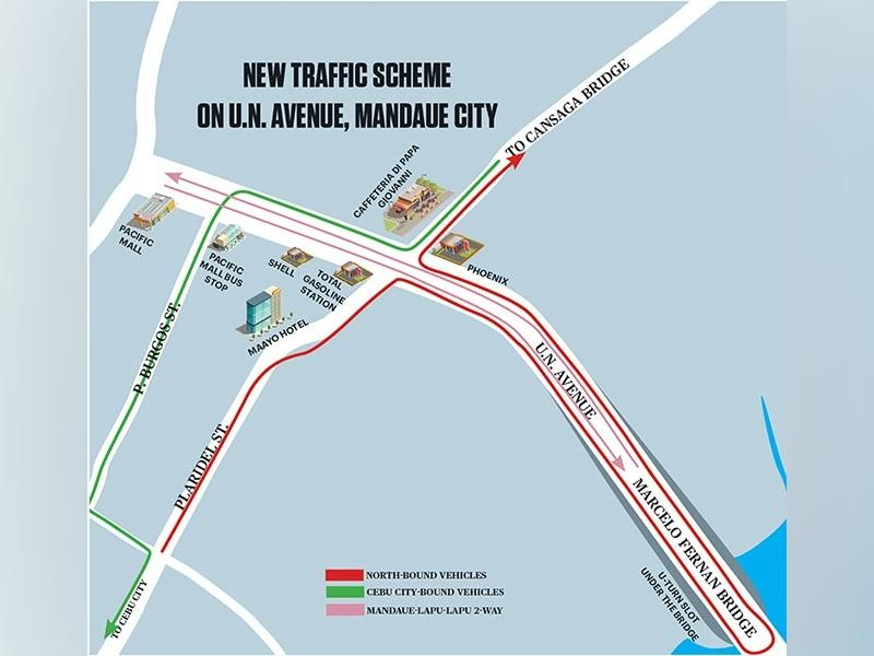CEBU. A traffic scheme being proposed shows the route vehicles take as shown on the colors of the directional arrows. A dry run of the traffic scheme is scheduled on Sunday, Sept. 22, 2019. (Sunstar Graphics / Josua Cabrera, Enrico Santisas)