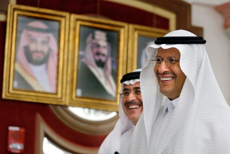 SAUDI ARABIA. Energy Minister Prince Abdulaziz bin Salman, right, and Aramco CEO Amin Al-Nasser smile as they leave a press conference in Jiddah, Saudi Arabia, Tuesday, September 17, 2019. Saudi Arabia's energy minister said Tuesday that 50 percent of its daily crude oil production that was knocked out by a weekend attack had been restored and that full production is expected by the end of the month. (AP)