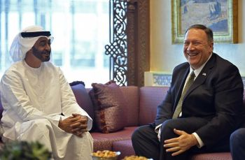 UNITED ARAB EMIRATES. U.S. Secretary of State Mike Pompeo meets with Abu Dhabi Crown Prince Mohamed bin Zayed al-Nahyan in Abu Dhabi, United Arab Emirates, Thursday, September 19, 2019. (AP)