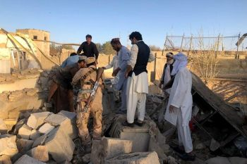 AFGHANISTAN. Afghan security members and people work at the site of a suicide attack in Zabul, Afghanistan, Thursday, September 19, 2019. A powerful early morning suicide truck bomb devastated a hospital in southern Afghanistan on Thursday. (AP)