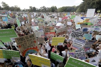 AUSTRALIA. Thousands of protestors, many of them school students, gather in Sydney, Friday, September 20, 2019, calling for action to guard against climate change. Australia's acting Prime Minister Michael McCormack has described ongoing climate rallies as