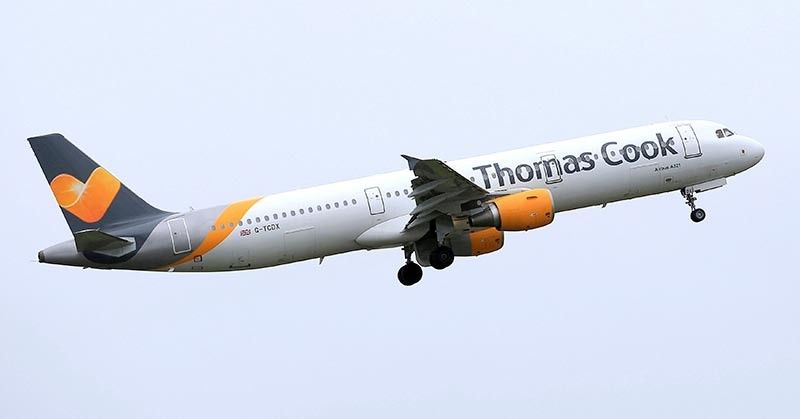 ENGLAND. In this May 19, 2016 file photo, a Thomas Cook plane takes off from England. Veteran British tour operator Thomas Cook collapsed after failing to secure rescue funding, and travel bookings for its more than 600,000 global vacationers were canceled early Monday, September 23, 2019. (AP)