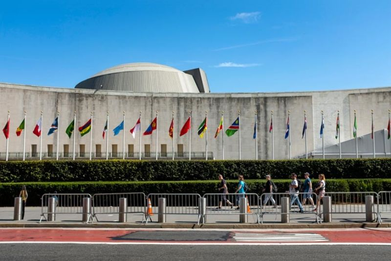 NEW YORK. Temporary security barricades stand along 1st Ave. in New York in front of United Nations Headquarters Saturday, September 21, 2019, as the United Nations General Assembly gets underway today and into the coming week. (AP)