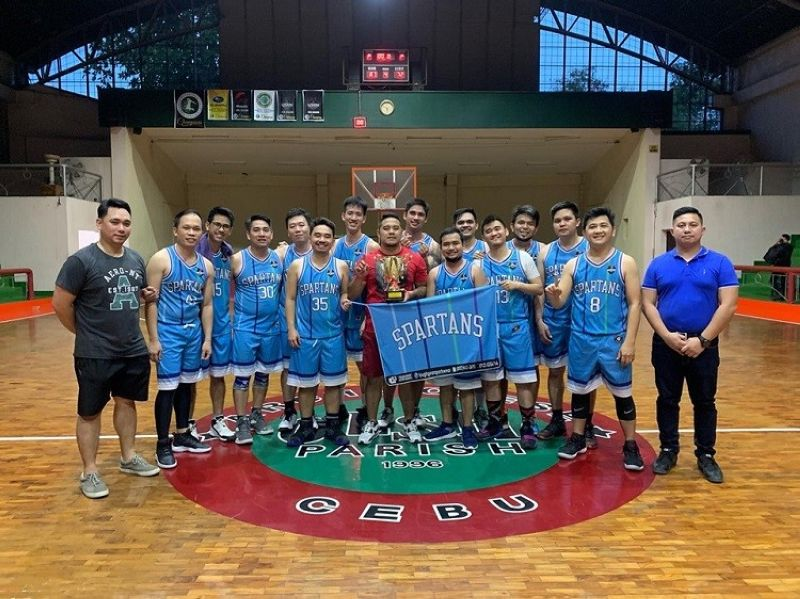 THIS IS SPARTA, YOUR HONOR. Members of the Spartans basketball team celebrate after winning the first conference of the IBP Basketball League. (Contributed Photo)