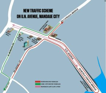 REROUTING. Under the new traffic scheme, motorists on D.M. Cortes St. will have to take a longer route to get to the Cansaga Bridge, and vice versa, as they will no longer be allowed to cross the intersection at UN Ave. (SunStar graphics / Josua S. Cabrera & Enrico  P. Santisas)
