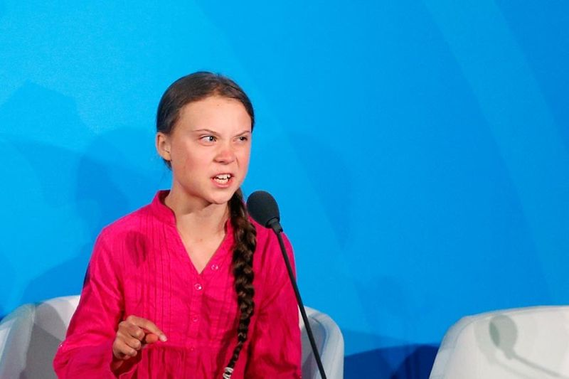 U.N. HEADQUARTERS. Environmental activist Greta Thunberg, of Sweden, addresses the Climate Action Summit in the United Nations General Assembly, at U.N. headquarters, Monday, September 23, 2019. (AP)