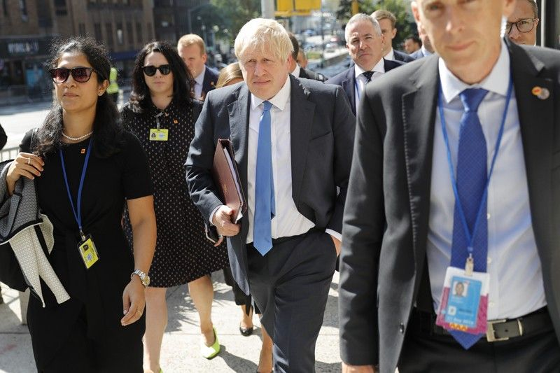NEW YORK. Britain's Prime Minister Boris Johnson walks down the street near United Nations headquarters in New York, Monday, September 23, 2019. (AP)