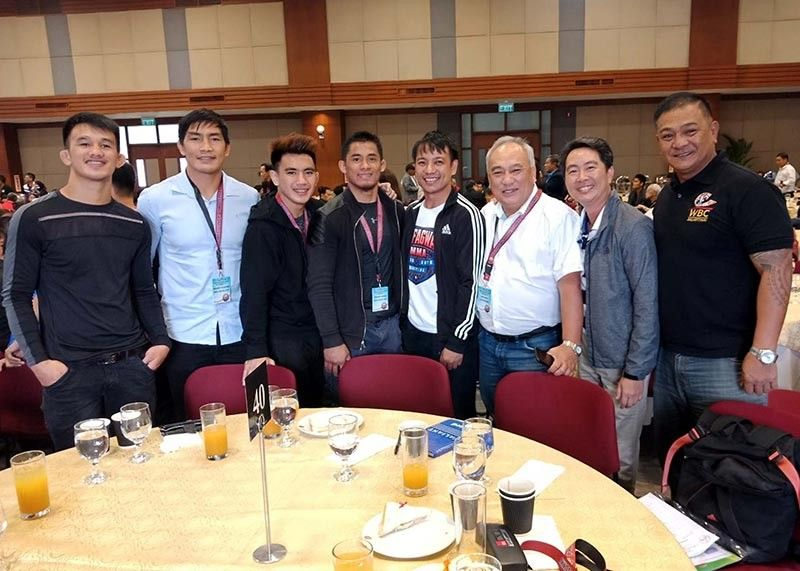MANILA. Team Lakay fighters together with, Kafagway MMA coach Bryan Olod, Tony Tabora, and Baguio Olympics Founders Christian Villareal and Paraiso Bautista attends the Philippines Professional Summit Program in Pasay City. (Contributed photo)